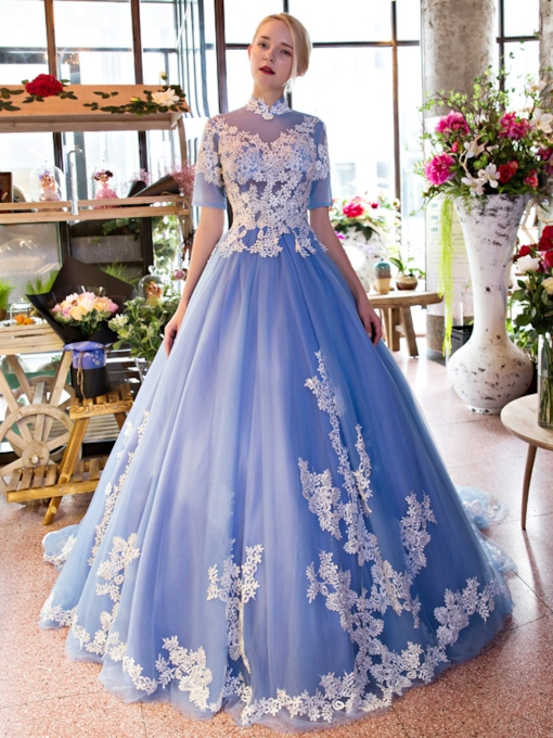 High Neck Ball Gown Appliques Short Sleeves Quinceanera Dress