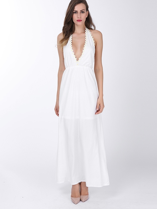 White V-Neck Halter Backless Bohemian Women's Maxi Dress (Plus Size Available)
