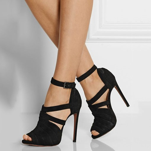 Buckle Peep Toe Plain Stiletto Heel Women's Pumps