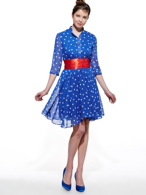 Chiffon A-Line Single-Breasted Polka Dots Women's Day Dress
