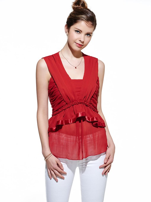 Solid Color Sleeveless Ribbon Slim Women's Blouse