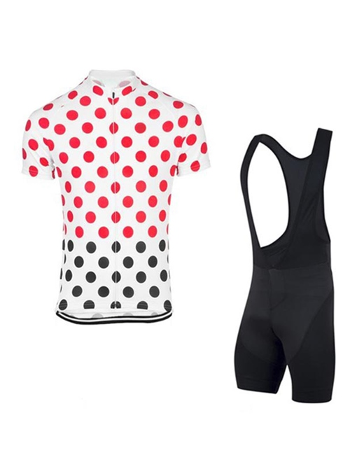 Moisture Spot Print Short Sleeve Men's Cycling Suit (Plus Size Available)