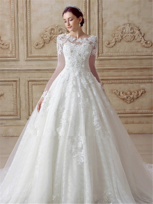 Scoop Neck A Line Appliques Long Sleeve Wedding Dress