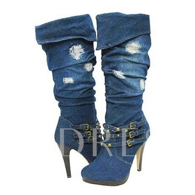 Pointed Toe Slip-On Stiletto Heel Buckle Women's Knee High Boots