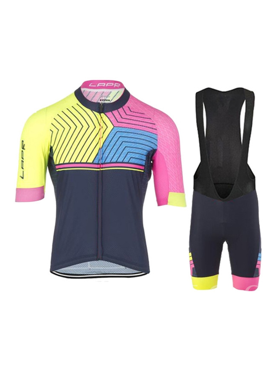 Color Link Quick-Dry Breathable Short Sleeve Men's Cycling Suit (Plus Size Available)