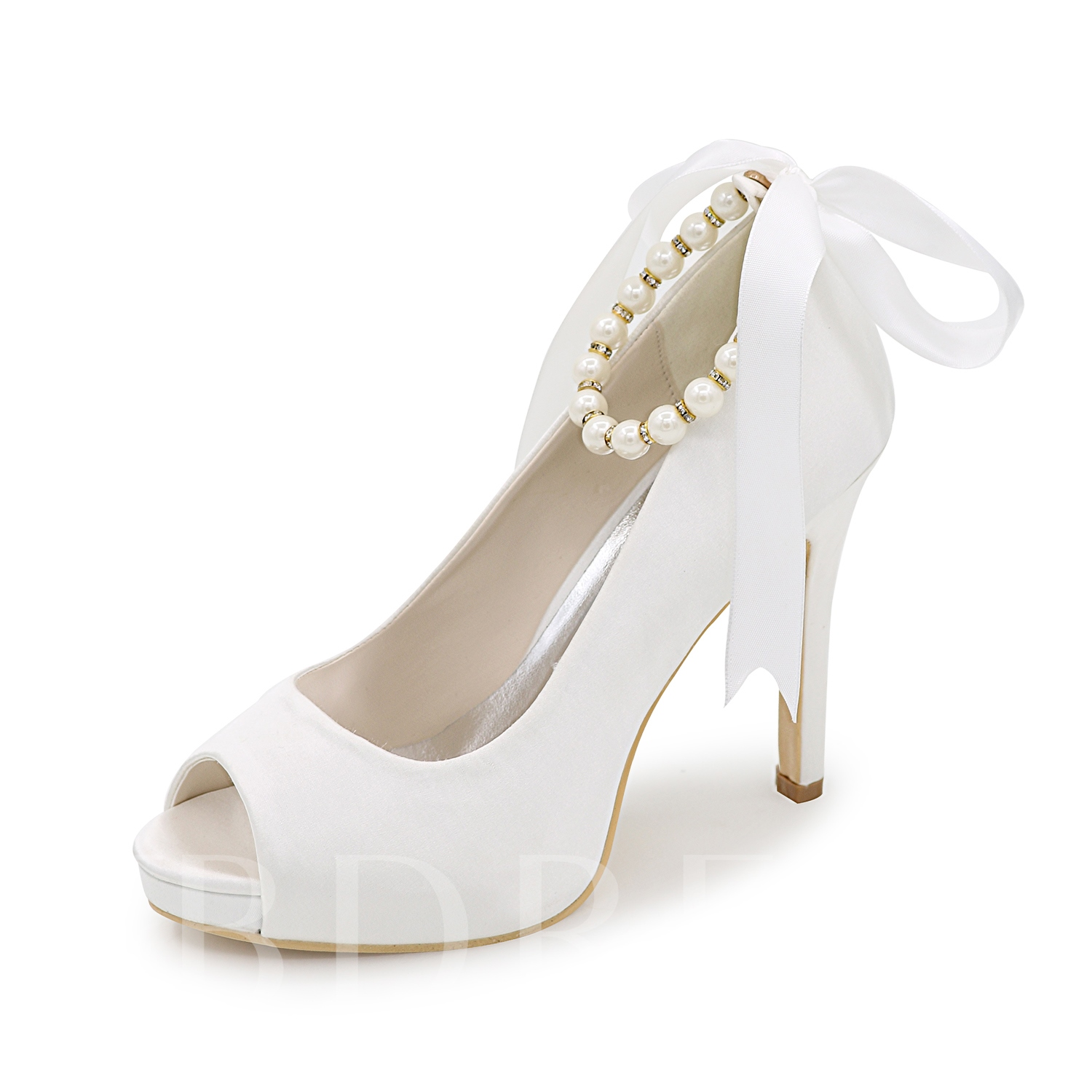 Buy Lace-Up Plain Peep Toe Bead Stiletto Heel Women's Pumps, Spring,Summer,Fall, 12219431 for $56.99 in TBDress store