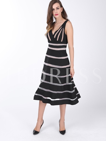Sleeveless V-Neck Stripe Suspenders Women's Day Dress