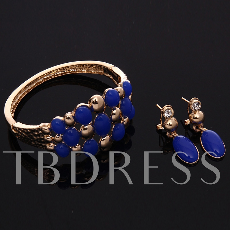 Blue Gemstones Decor Golden Jewelry Set