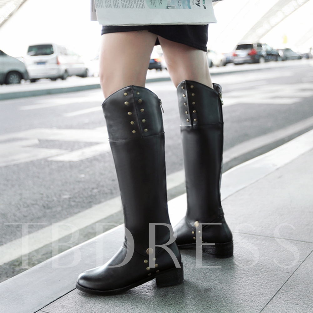 Round Toe Back Zipper Knee-High Women's Boots