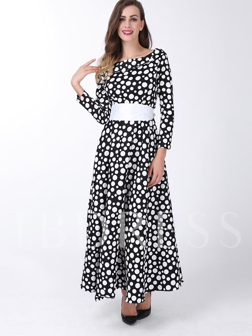 Polka Dots Long Sleeve Women's Maxi Dress (Plus Size Available)