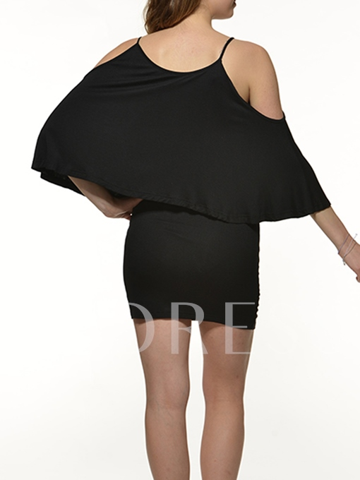Black Batwing Sleeve Off-The-Shoulder Women's Day Dress (Plus Size Available)