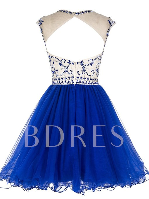 A-Line Scoop Beading Backless Mini Homecoming Dress