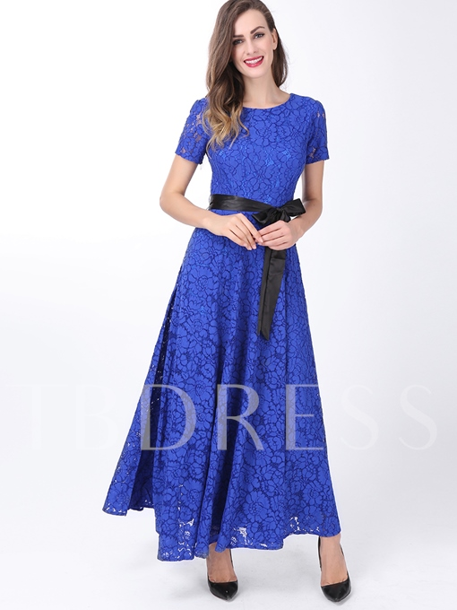 Chic Round Neck Short Sleeve Belt Women's Maxi Dress