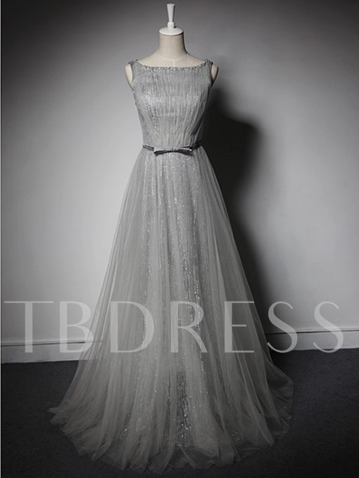 Sequins A-Line Bowknot Scoop Beading Sashes Floor-Length Evening Dress