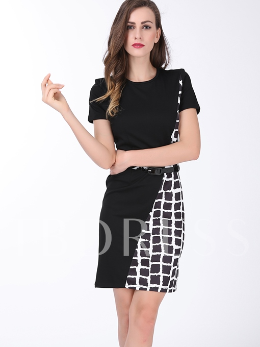 Plaid Patchwork Women's Sheath Dress (Plus Size Available)