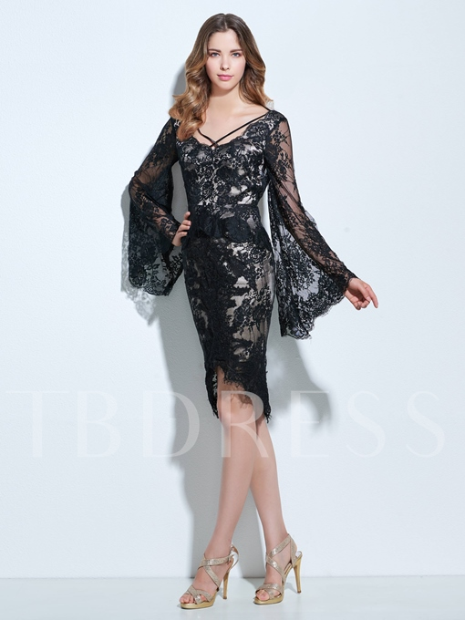 Square Sheath Long Sleeves Lace Knee-Length Cocktail Dress