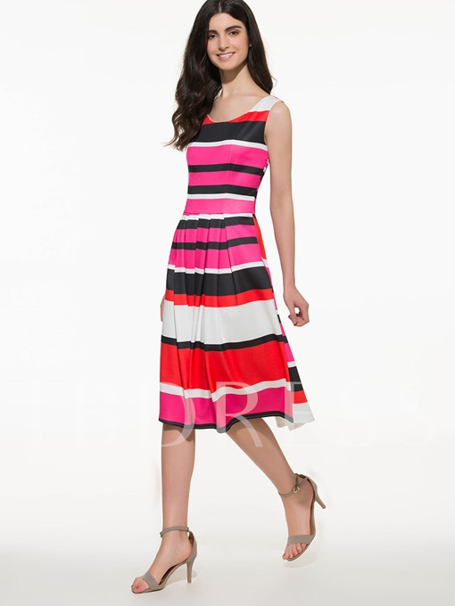 Round Neck Color Block Sleeveless Women's Day Dress (Plus Size Available)