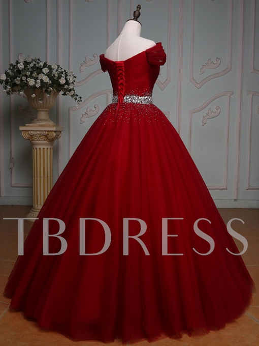 Off-the-Shoulder Pleats Ball Gown Beading Floor-Length Quinceanera Dress