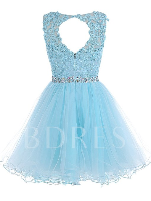 A-Line Scoop Appliques Beaded Backless Mini Homecoming Dress