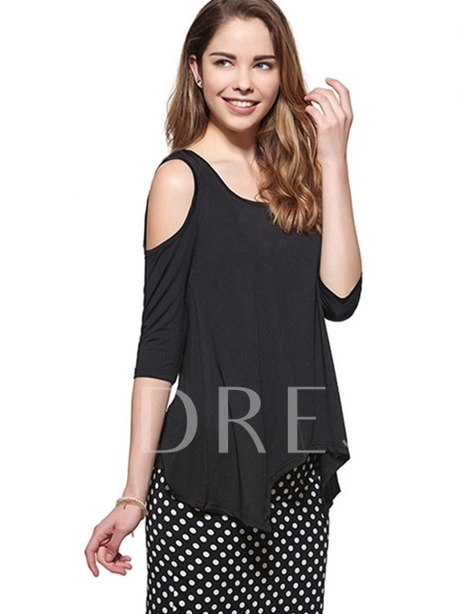 Pure Color Off-shoulder Sleeve Women's T-Shirt