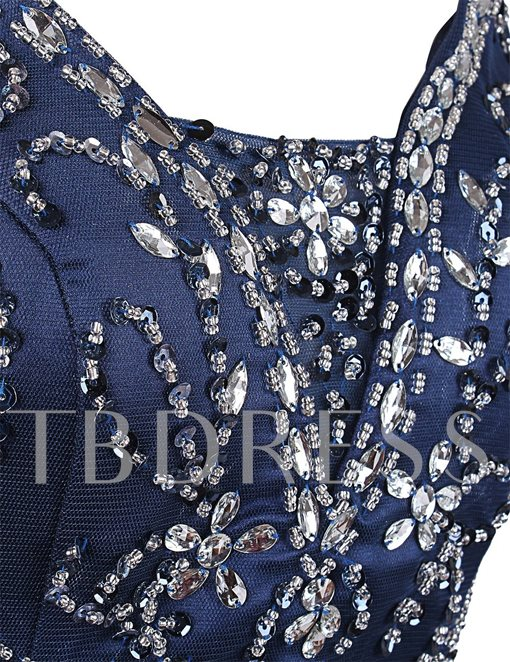 Trumpet Rhinestone V-Neck Beaded Evening Dress