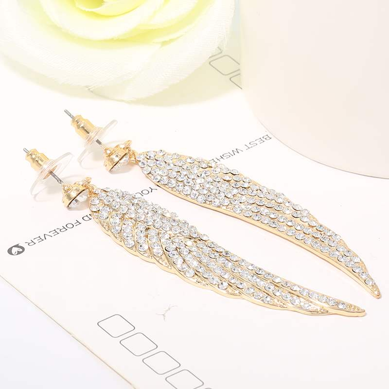 Golden Wing Pendant Earrings with Rhinestone
