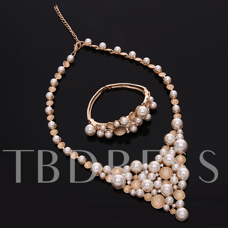 Charming Pearls Inlaid Jewelry Set