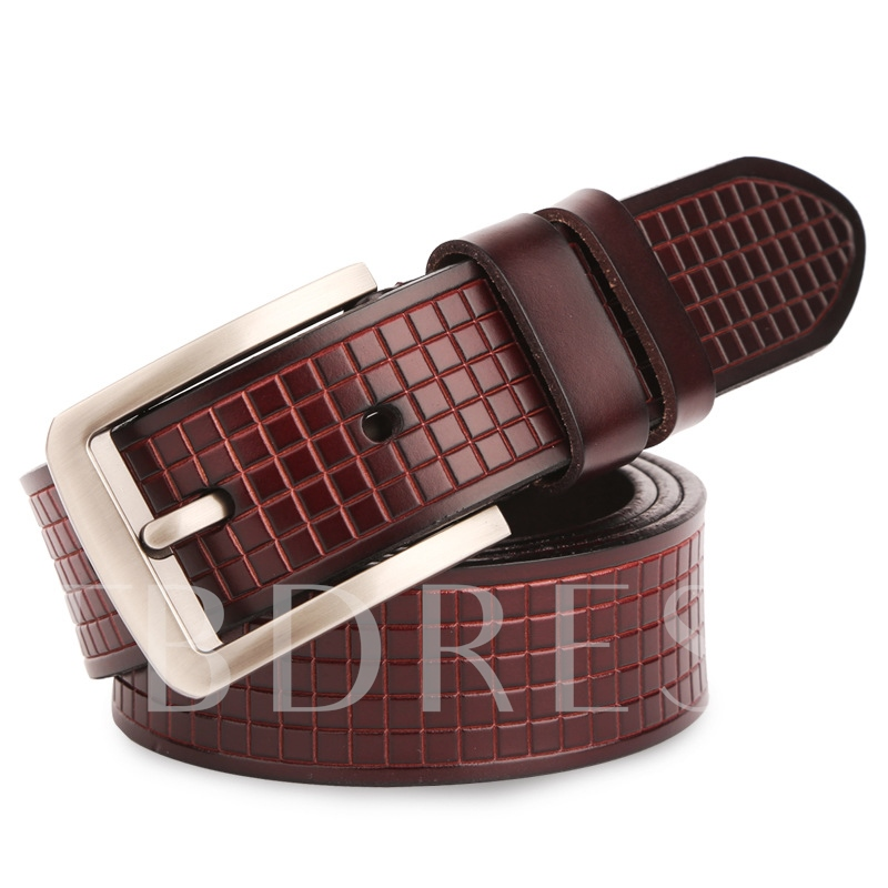 Men's Lattice Design Artificial Leather Belt
