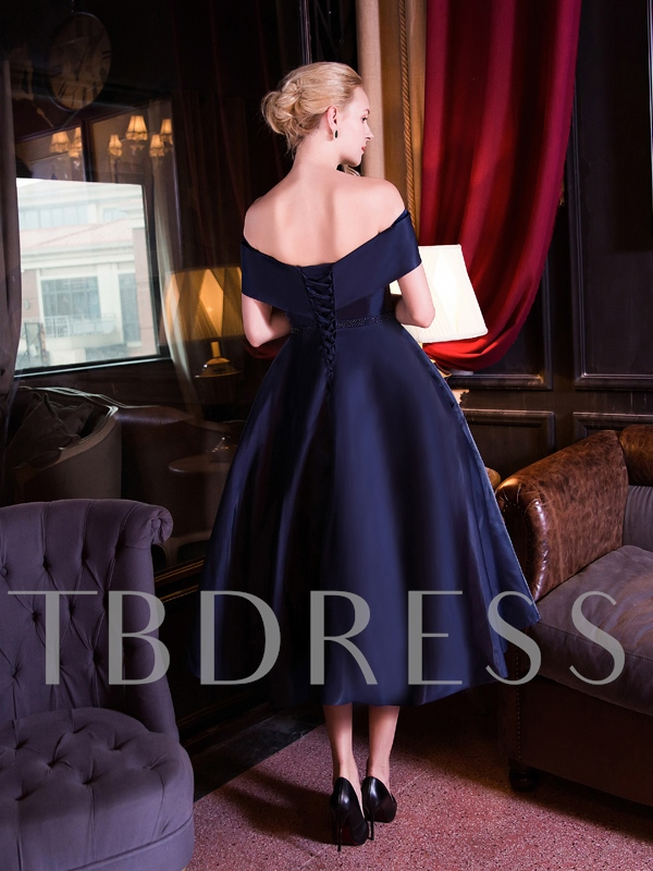 A-Line Off-the-Shoulder Bowknot Sashes Tea-Length Evening Dress