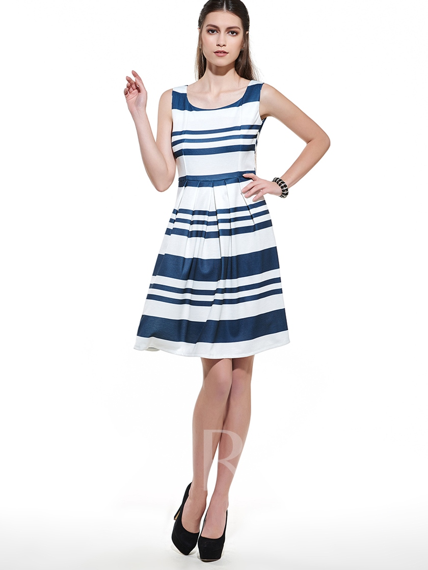 Navy Sleeveless Stripe A-Line Women's Day Dress (Plus Size Available)