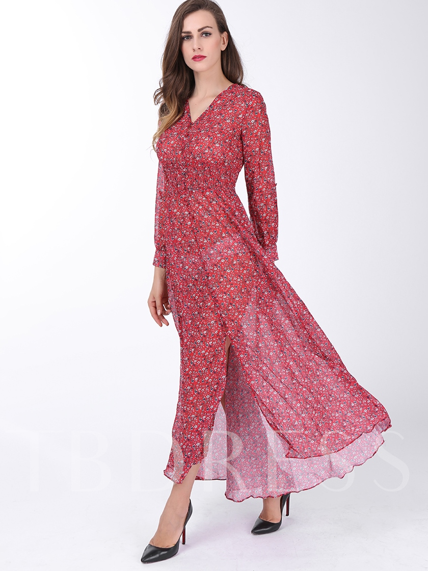 Red V Neck Split Women's Maxi Dress