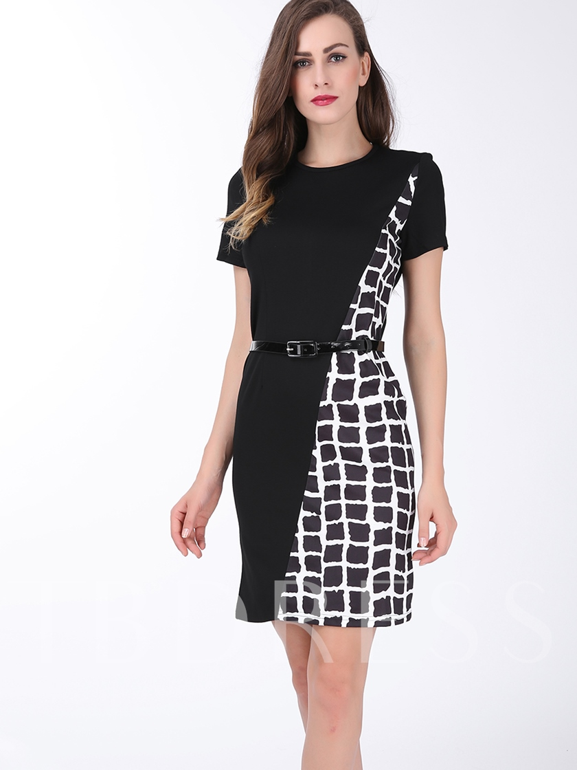 Plaid Patchwork Women's Sheath Dress