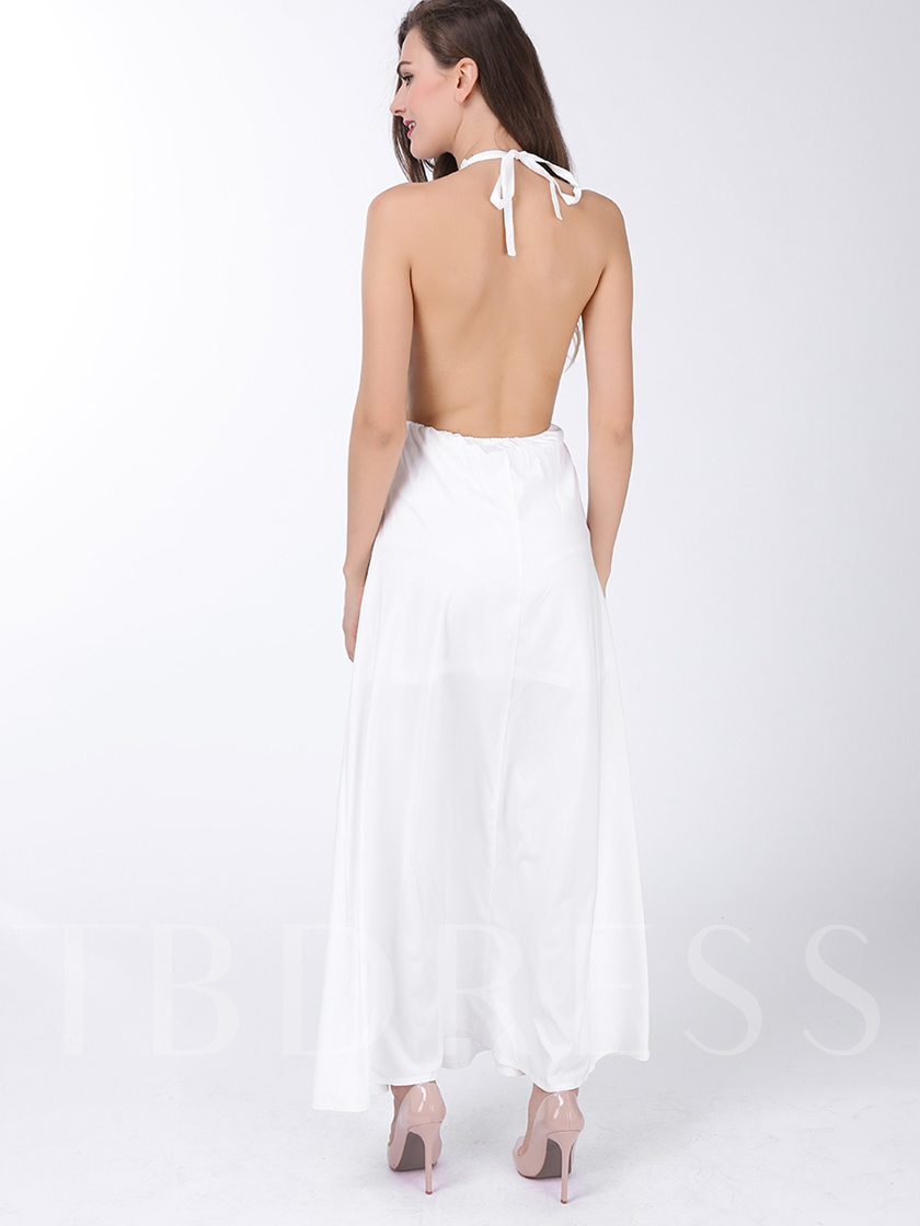 Sold Out. White V-Neck Halter Backless Bohemian Women s Maxi Dress (Plus  Size Available) bc0e55ac7