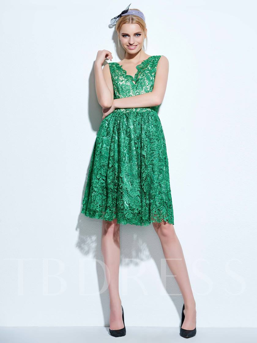 Plain Sleeveless V-Neck A-Line Women's Lace Dress