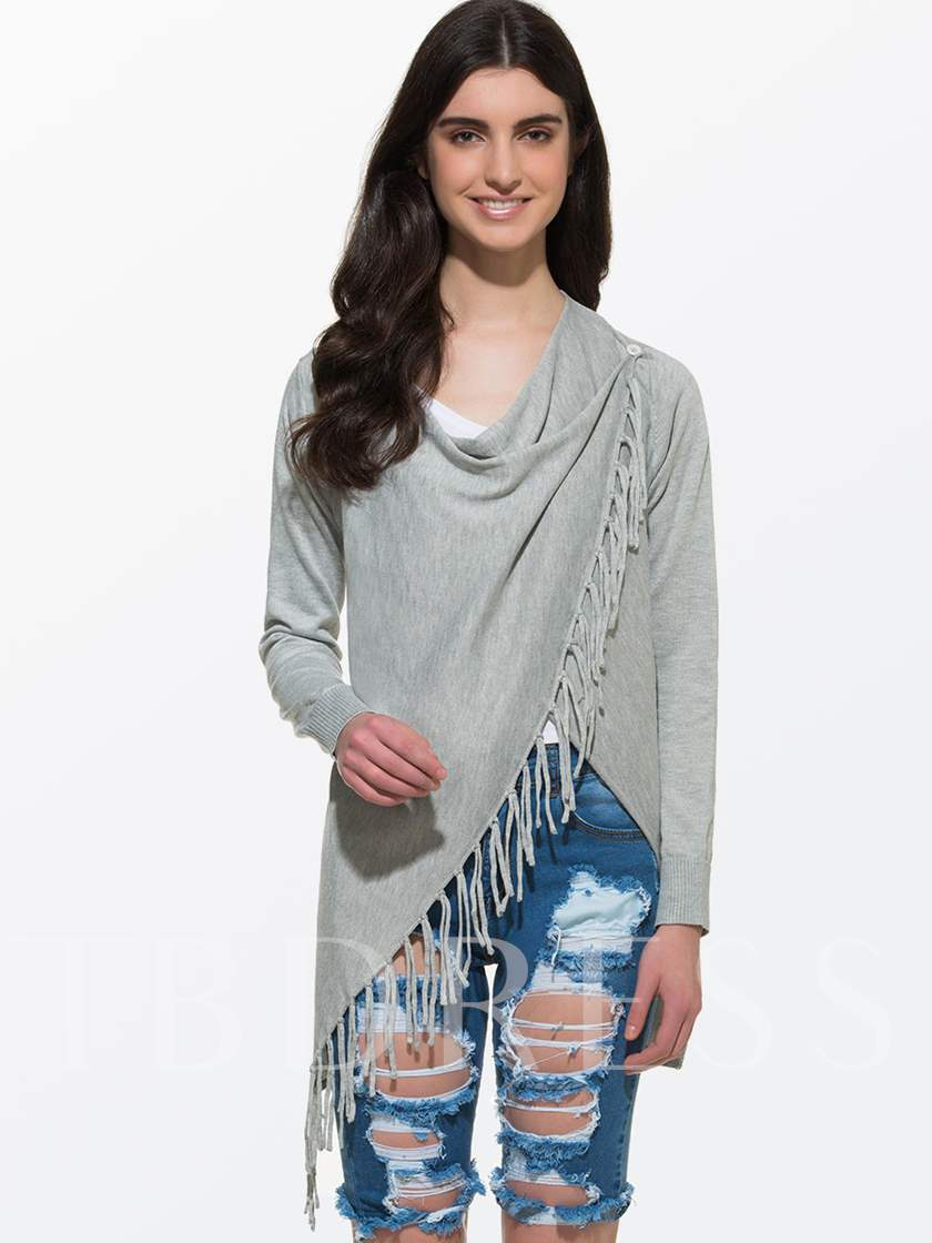 Asym Tassels Heaps Collar Women's Blouse