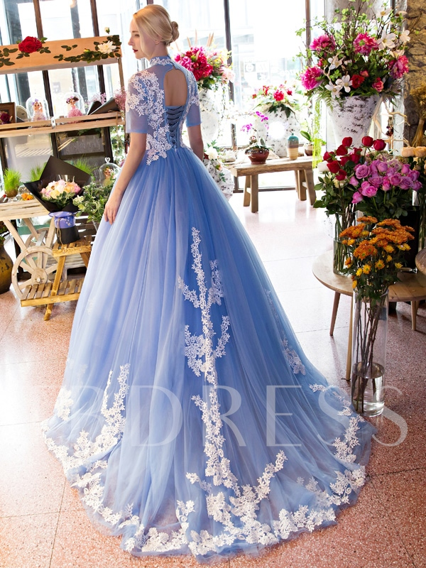 High Neck Ball Gown Short Sleeves Lace Court Train Quinceanera Dress