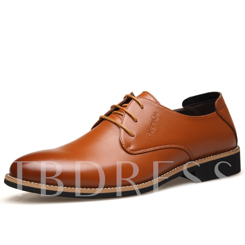 Lace-Up Pointed Toe Square Low Heel Men's Oxfords