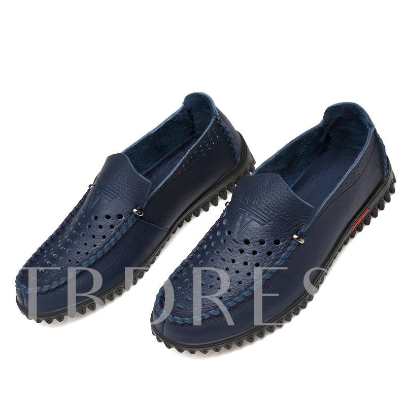 Square Toe Hollow Low-Cut Men's Loafers