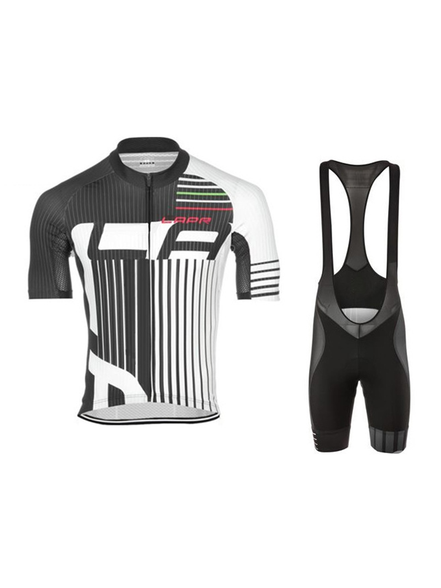 Vertical Stripes Printed Quick Dry Shorts Men's Cycling Suit (Plus Size Available)