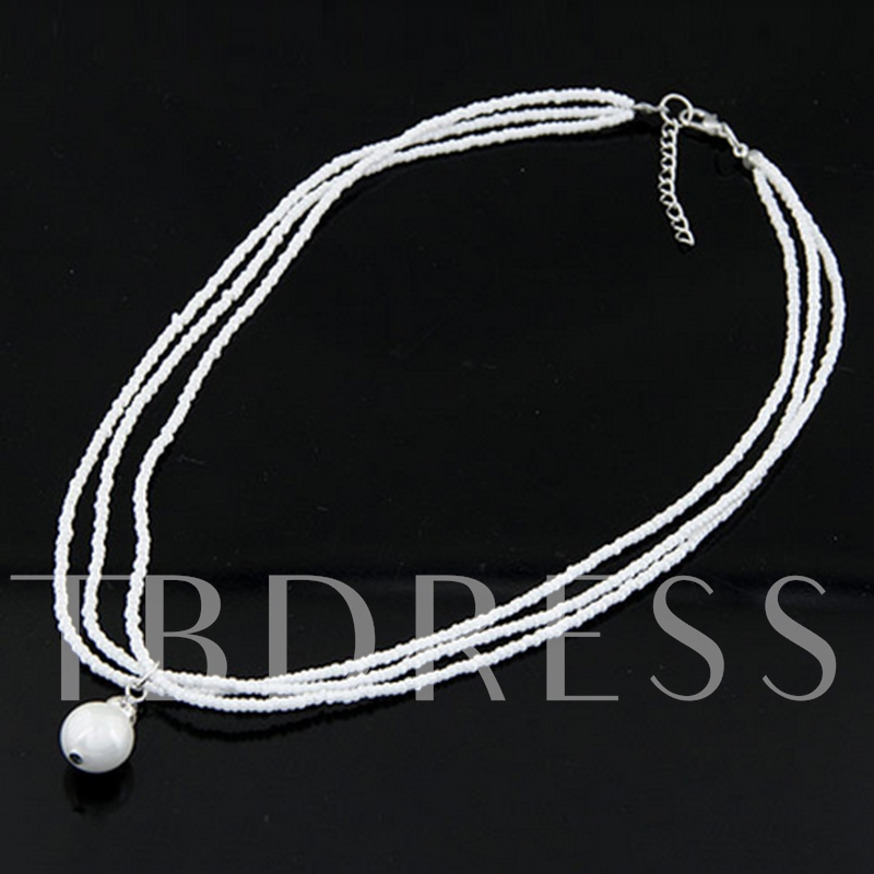 White Pearl Pendent Bead Necklace