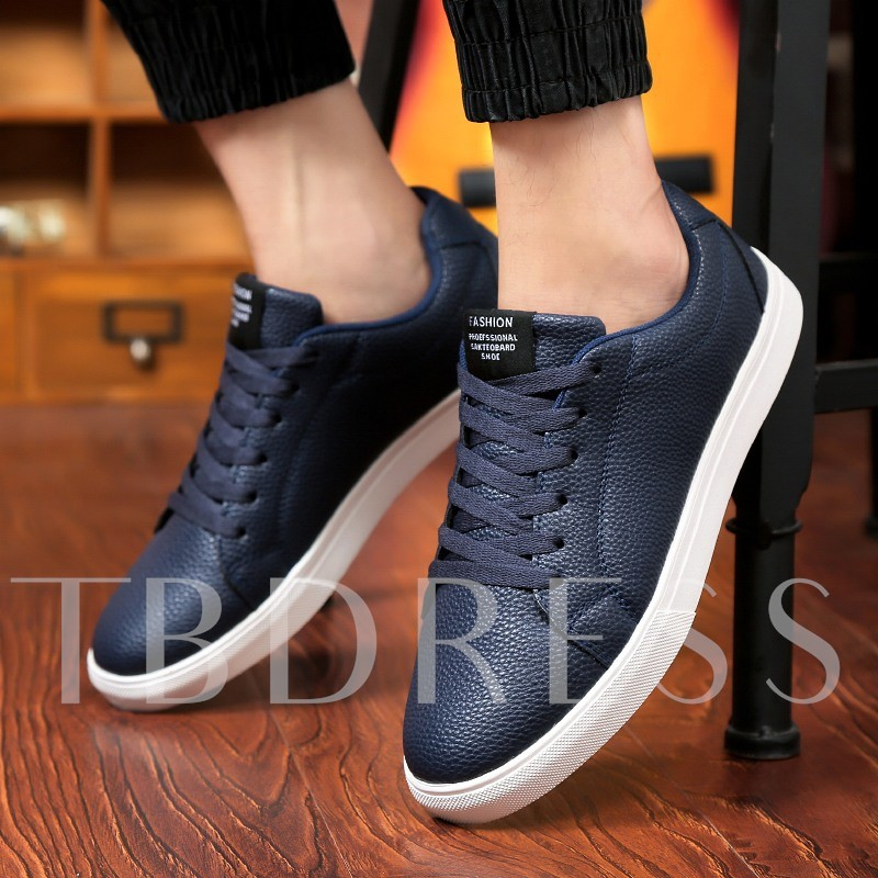 Plain Round Toe Flat Heel Lace-Up Men's Loafers