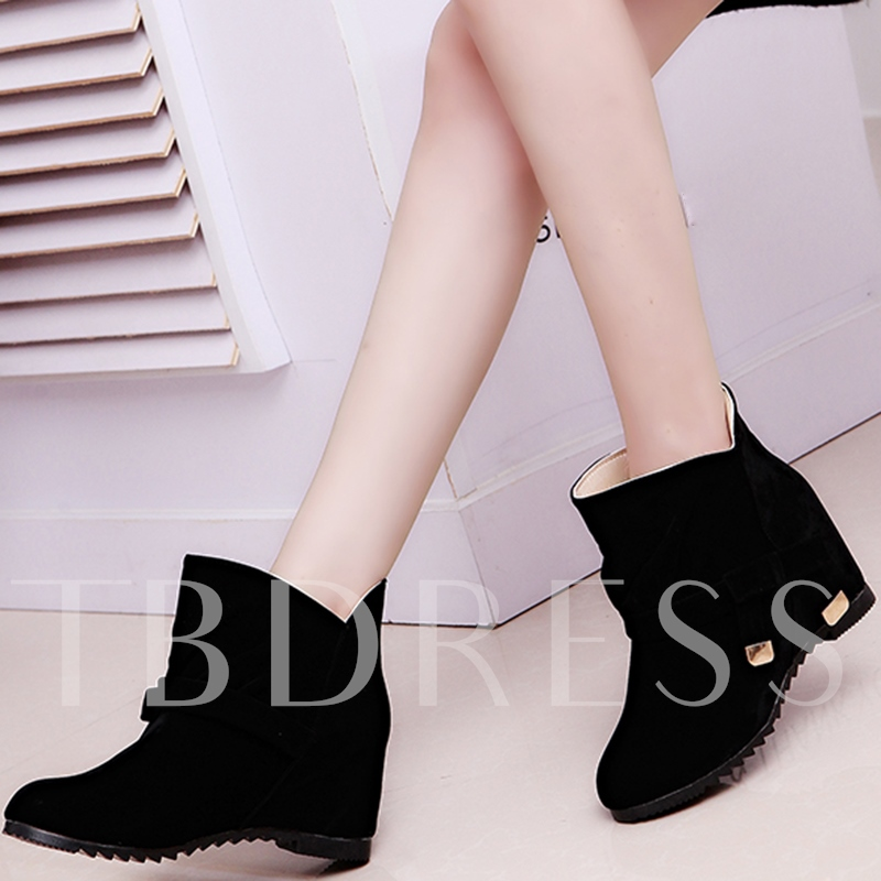 Buy Slip-On Plain Round Toe Ankle Bowtie Women's Boots, Spring,Fall,Winter, 12231174 for $19.99 in TBDress store