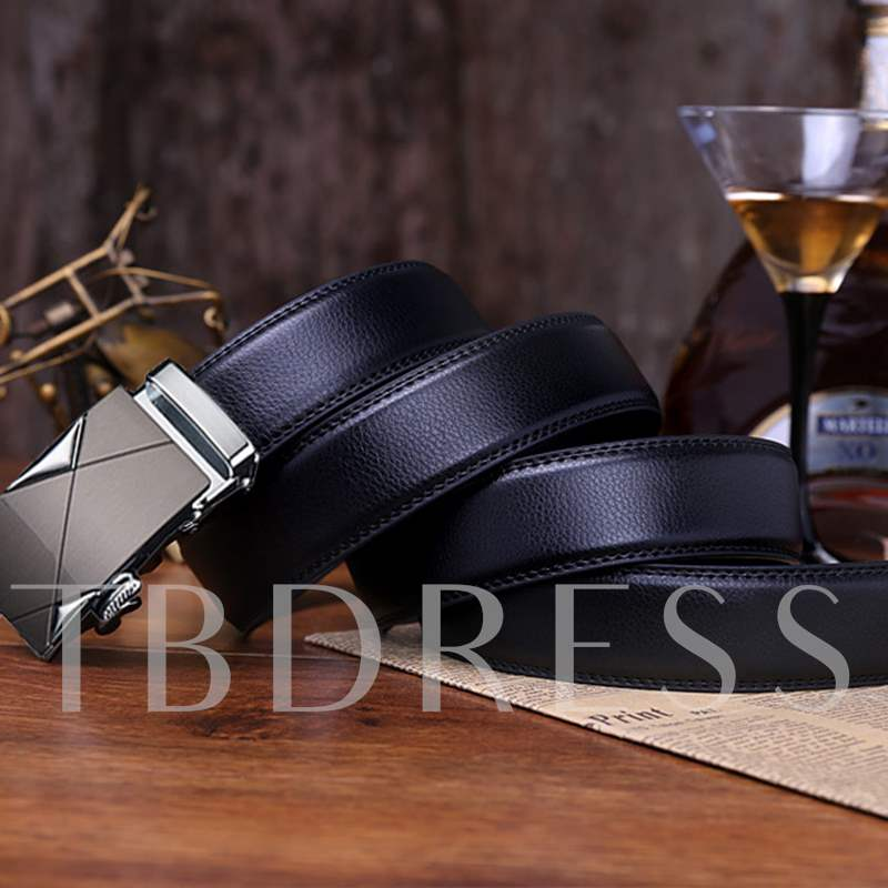 Automatic Buckle Black Artificial Leather Wide Men's Belt