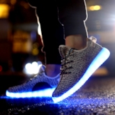 Round Toe Flat Heel Lace-Up Light Up Shoes Men's Sneakers