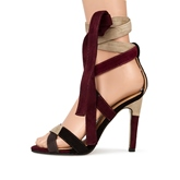 Open Toe Lace-Up Color Block Cross Strap Stiletto Heel Women's Sandals