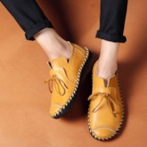 Low-Cut Upper Round Toe Flat Heel Lace-Up Men's Boat Shoes