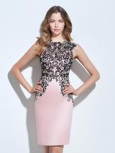 Jewel Sheath Appliques Knee-Length Cocktail Dress