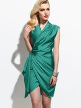 Plain Green V-Neck Women's Sheath Dress