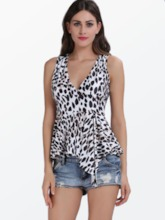 Leopard V-neck Slim Sleeveless Women's Blouse