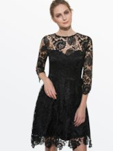 Black Half Sleeve Women's Lace Dress